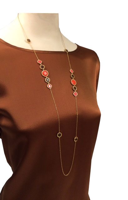 Nour Jewellery Long Chain Coral Necklace