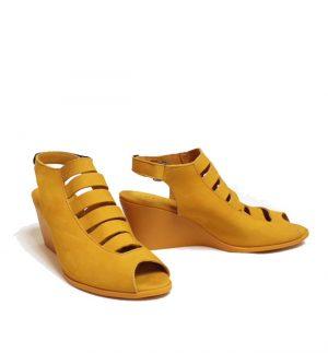Arche Egzy Nubuck Wedge Sandal in Yellow EGZY Formula Casa