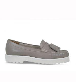 Lisa Kay Ziggy White Taupe Nubuck Loafers