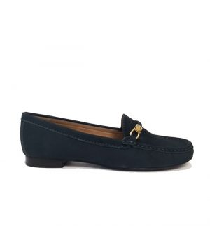 Lisa Kay Bunny Bottle Green Nubuck Loafer