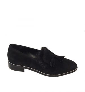 Lisa Kay London Gretchen Black Loafers with Rabbit Fur
