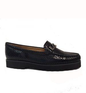 Lisa Kay Constance Black Snake Skin Loafer