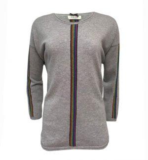 Cocoa Cashmere Ash Rainbow Stripe Grey Jumper CC1869