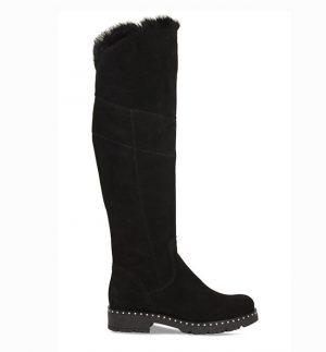 Lisa Kay Sheena Black Suede & Fur Boots