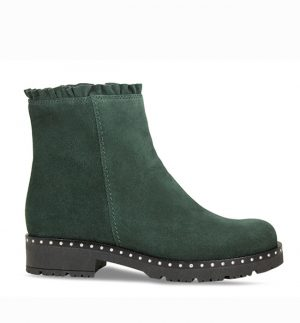 Lisa Kay Frill Green Suede Ankle Boot