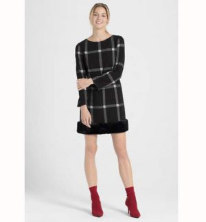 Ana Alcazar Faux Fur Dress Pramia Black