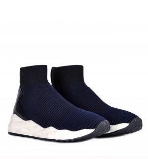 ASH Spot Trainers Black Midnight Ribbed Knit & Leather
