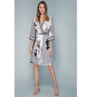 Hale Bob Jamie Grey Floral Print Jersey Wrap Dress