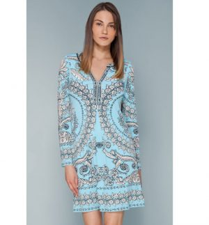 Hale Bob Magda Turquoise Floral Print Beaded Jersey Dress
