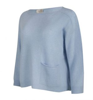 Caroline Cashmere Baby Blue Amy Top