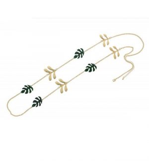 Nour London Green Palm Leaf Necklace