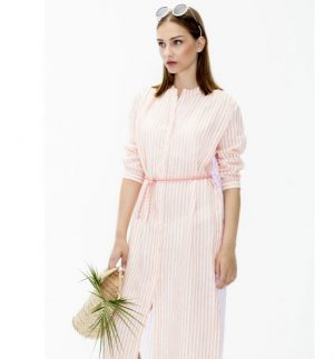 Vilagallo Anett Dress Orange Linen Stripe 26281