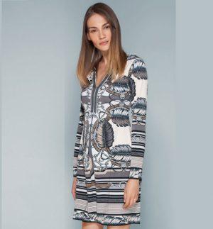 Hale Bob Magda Light Grey Beaded Jersey Dress HAL 8ZAC6642