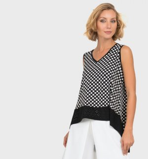 Joseph Ribkoff Black & White Polka Dot Top 192845