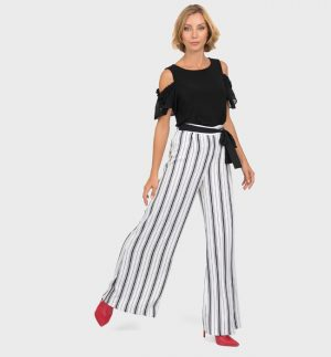 Joseph Ribkoff Black & White Stripe Trousers 192905