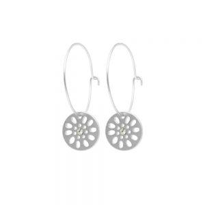 Dansk Smykkekunst Daisy Hoop Earring Silver