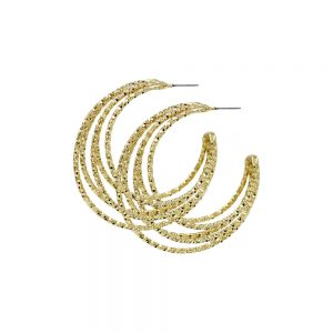 Dansk Smykkekunst Alyssa Multi Hoop Earring Gold