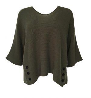 Caroline Ribbed Khaki 3 Button Top, 100% cashmere
