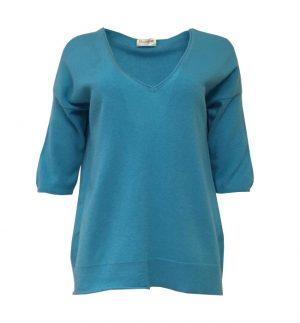 Caroline Cashmere Turquoise V-Neck Top