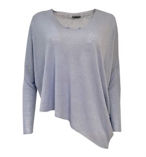 Crea Concept Light Blue Raw Hem Top 29240