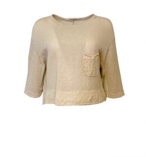 Transit Cropped Linen Cream Top