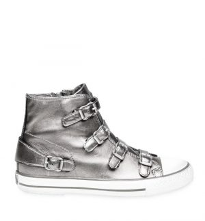 ASH Virgin Buckle Trainers Silver Moon Leather A13131-MON