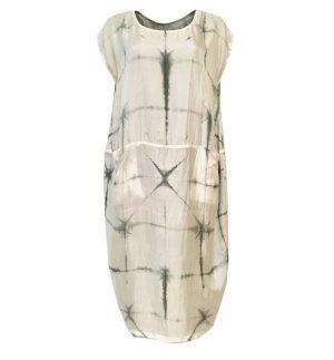 Bianco Levrin Grey & Cream Balloon Dress T141/FIORE-LS1906