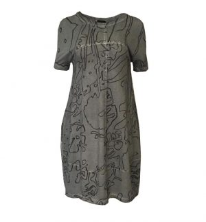 Grizas Grey Dress with Abstract Print 51918-TO46P36/360