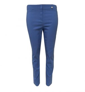 Robell Super Slim Fit Cropped Trousers in Cornflower Blue ROSE09/51527/600