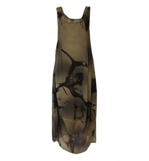Transit Par Such Khaki Balloon Dress in Khaki & Black CFDTRHU300E-103