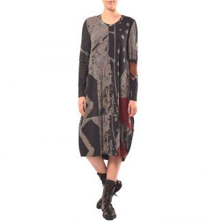 Crea Concept Scoop Neckline Midi Dress in Grey 30135