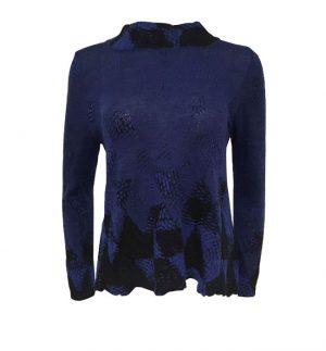 Crea Concept Abstract Knit Blue Jumper