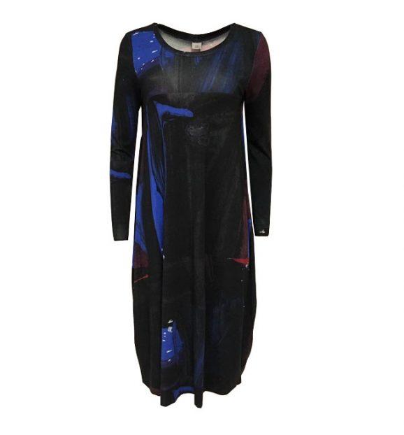 Crea Concept Abstract Print Blue Jersey Maxi Dress 30137