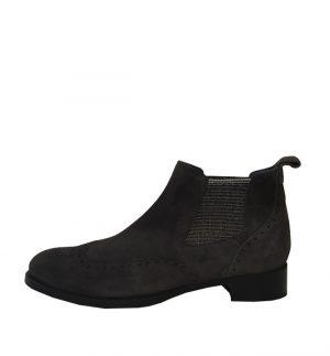 Calpierre Black Suede Brogue Ankle Boots