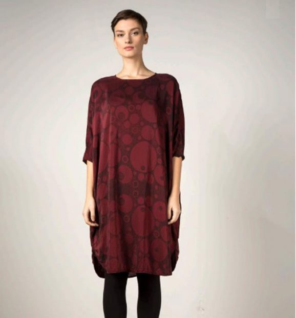 Grizas Bubbles Printed Burgundy Bamboo Dress