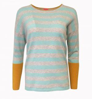 Cocoa Cashmere Turquoise & Mustard Stripe Jumper CC2131