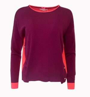 Coral & Bordeaux Button Jumper