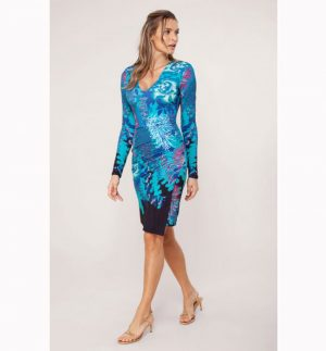 Hale Bob Jimena Jersey Dress 97FR6723 Teal