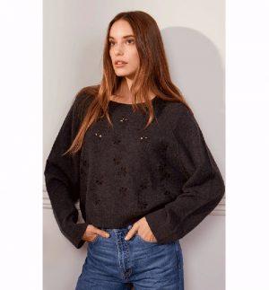 Charli Miriam Sweater made from 100% Merino Wool in dark grey melange