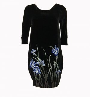 Bianco Levrin Oriana Iris Velvet Dress in Black T544
