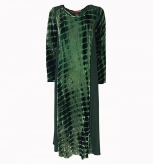 Bianco Levrin Jin Velvet Tiedye Crocodile Dress in Green T518
