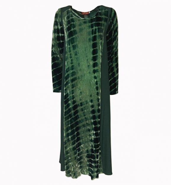 Bianco Levrin Jin Velvet Tiedye Crocodile Dress in Green T518
