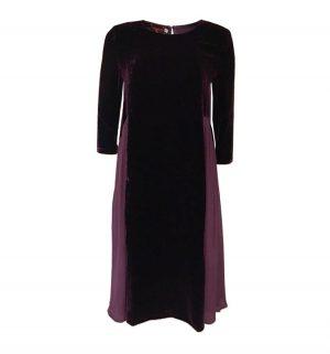 Bianco Levrin Camryn Velvet & Crep Dress in Plum T464