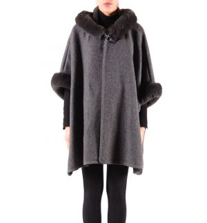 Rino & Pelle Makana Throw-on in Antracite with Faux Fur 700W19/0965