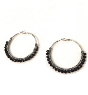 Envy Jewellery Black Bead Hoop Earring 689/BK/E/C