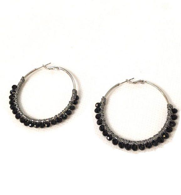Envy Jewellery Black Bead Hoop Earring 689/BK/E/C