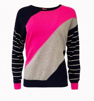 Cocoa Cashmere Blue Pink & Grey Stripe Jumper