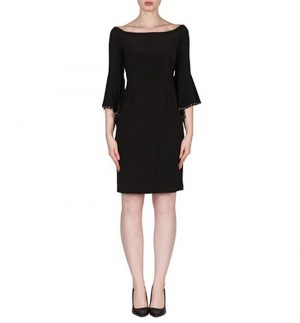 Joseph Ribkoff Black Dress with Bell Stud Sleeve 173025