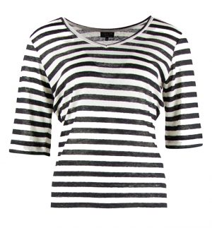 Zilch Black Stripe Linen Top