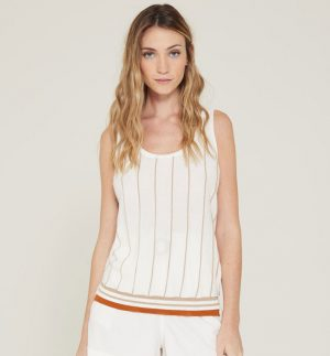 Yerse Sleeveless Sweater Ribbed Detail